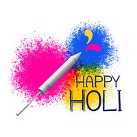 colors splatter with pichkari for holi festival greeting