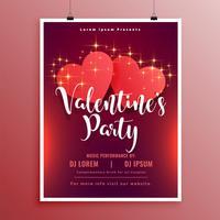 lycklig valentines day party flyer broschyr vacker design