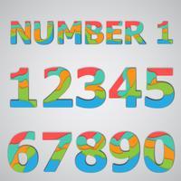Papercut colorido conjunto de números en capas, vector