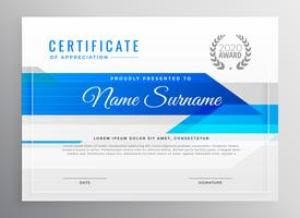 modern blue horizontal diploma certificate template