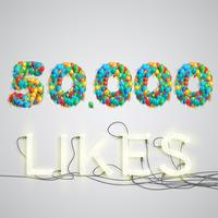 Number of likes made by balloon, vector illustration