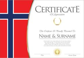 Certificado o diploma de diseño de la bandera de Noruega.