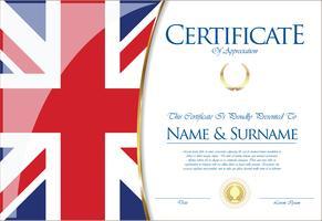 Certificado o diploma del diseño de la bandera del Reino Unido.