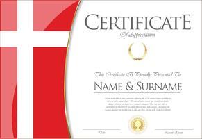Certificado o diploma de diseño de la bandera de Dinamarca.