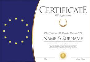 Certificado o diploma de diseño de bandera de la Unión Europea.