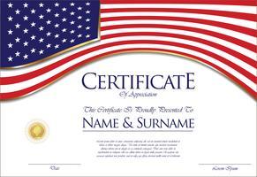 Certificado o diploma de diseño de bandera de Estados Unidos.
