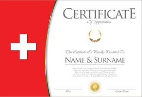 Certificado o diploma de diseño de la bandera de Suiza.