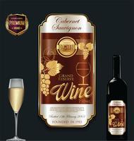 Ilustração em vetor luxo dourado vinho rótulo
