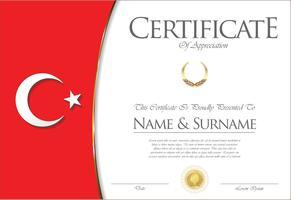 Certificado ou diploma design de bandeira da Turquia