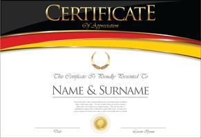 Certificado o diploma de diseño de la bandera de Alemania.