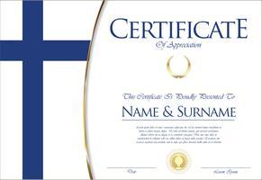Certificado o diploma de diseño de la bandera de Finlandia.