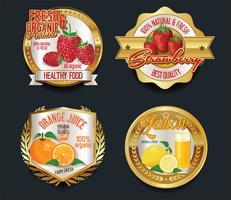 Etiquetas de oro para productos de frutas orgánicas.