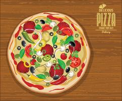 Pizza background retro design