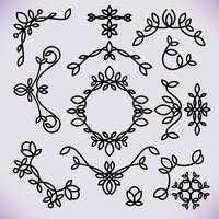 Elementi di design del telaio linea vettoriale, ornamento, emblema, logo, sfondo, cornici