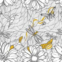 Seamless pattern of leaves, dragonflies, beetles and butterflies.