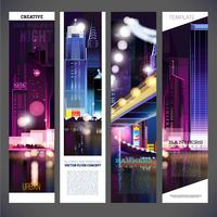 Banners urban night city vector template design