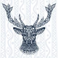 Figure of deer pattern, ornament, leaves and flowers