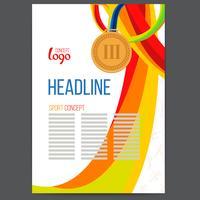 Vector Sport Awards Bronze Medal op de achtergrond van golvende lijnen met elkaar verweven.