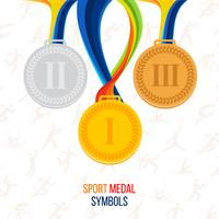 Vector Gold medal, silver medal, bronze medal against the background of sports icons
