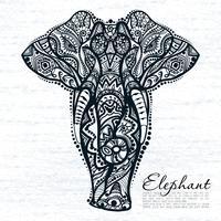 Dibujo vectorial de elefante con estampados étnicos de la india.