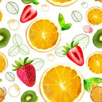 Vector Fruit seamless pattern mixture