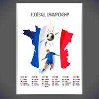 Signs Football championship with player and ball on map background vector