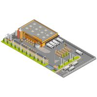 Isometric Warehouse with Loading and Unloading Area