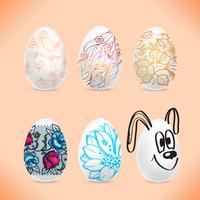 Set of the Easter eggs with the image of colored patterns with shadows.