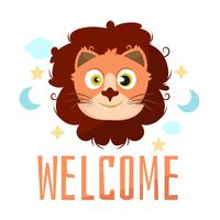 Lion animal cartoon baby shower card celebration