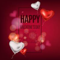 Realistic background with valentine balloons