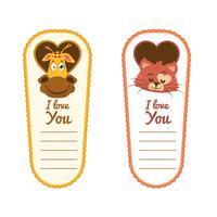 Valentijnsdag dierlijke sticker collectie