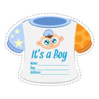 Baby clothes boy shower invitation card template