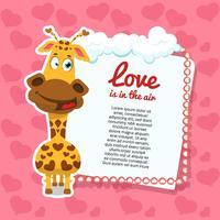 Fondo de San Valentín con jirafa.