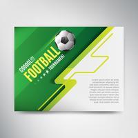 Soccer League Cup-affiche op groene achtergrond met bal