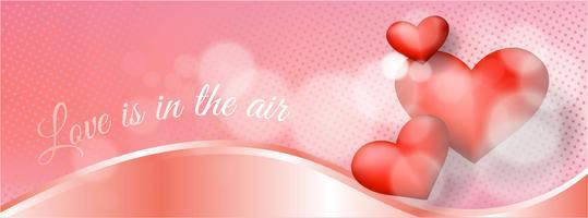 Realistic valentine's day banner