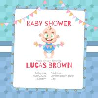 Baby shower card for boy in cartoon style