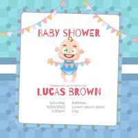 Cartão de chuveiro de bebê para menino em estilo cartoon