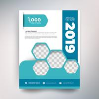 Annual report template, Modern design with sky blue tone