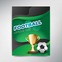 Soccer League cup poster on green background with ball and cup
