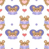 Hearts pattern with teddy bear
