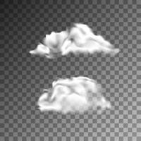 Vektor uppsättning av realistiska isolerade moln på den transparenta bakgrunden