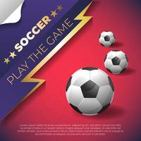 Fußballplakat auf rotem Hintergrund mit Ball