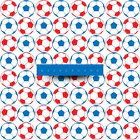 Seamless pattern of big soccer balls, blue and red on white