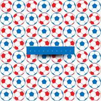 Modello senza cuciture di grandi palloni da calcio, blu e rosso su bianco
