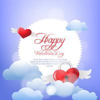 Valentijnsdag wolken en hart achtergrond