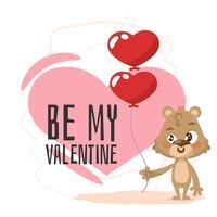 Fondo de día de San Valentín de oso sonriente