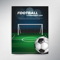 Soccer tournament cup poster on green background with ball and field