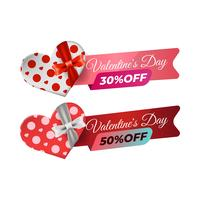Valentine sale banner template with gift box illustration