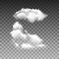 Vektorsatz der realistischen lokalisierten Wolke auf dem transparenten Hintergrund
