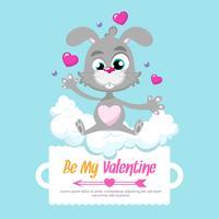 Conejo del día de San Valentín en el fondo de San Valentín
